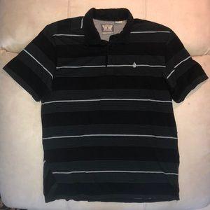 Volcom Black Striped Polo